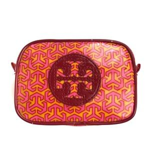 TORY BURCH Stacked Logo Patent MakeUp Cosmetic Bag